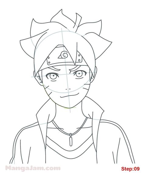 Tutorial Menggambar Obito | how to draw boruto uzumaki from naruto step 09 projects