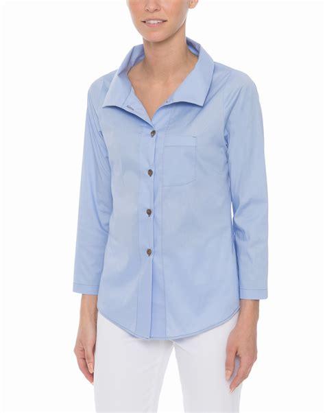 vitamin blouses french blue stretch cotton poplin shirt vitamin shirts