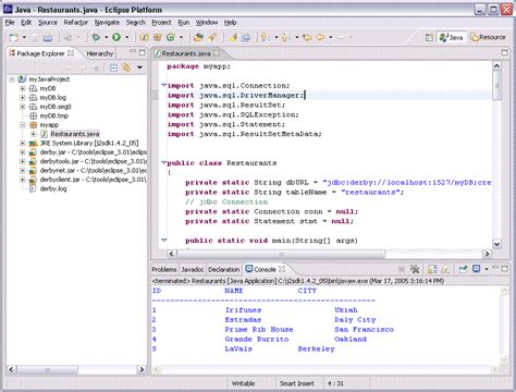 design app java creating a java application to access a derby database