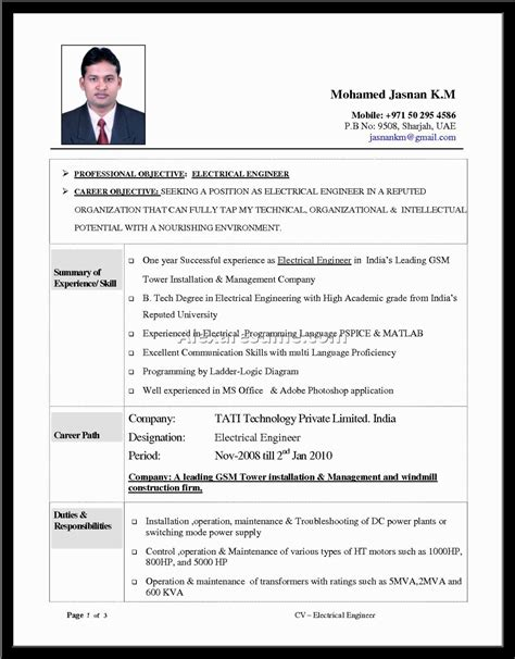 standard resume format for engineers engineering resume templates word sle resume cover letter format