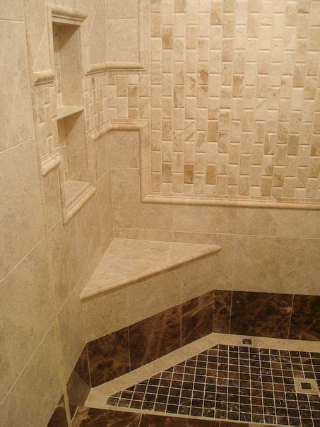 bathroom shower tile interesting pattern  shelves