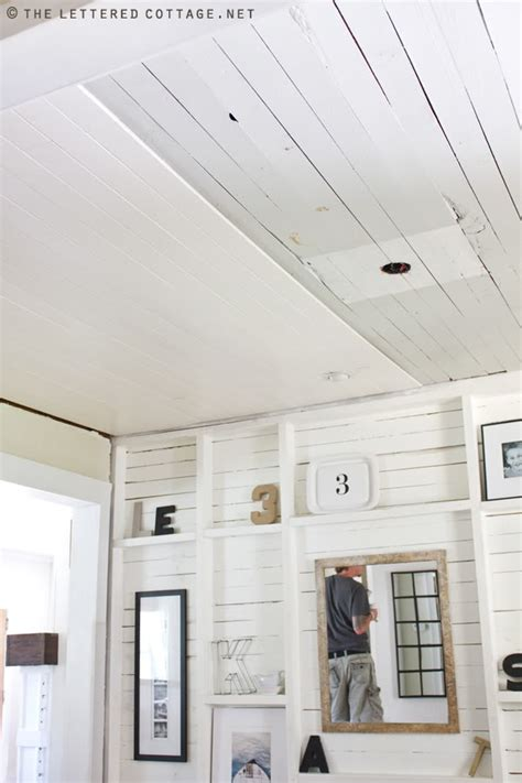 Ceiling Panel Ideas Once Upon A Cedar House Installing A Pine Tongue And