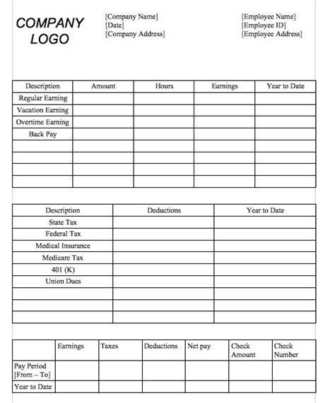 free blank pay stub template gse bookbinder co