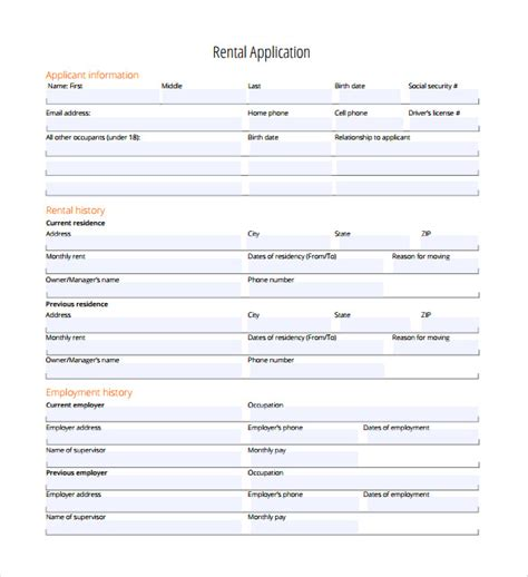 Rental Application 18 Free Word Pdf Documents Download Free Premium Templates Free Rental Application Form Template