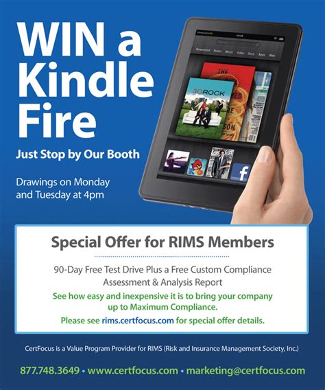 win a free kindle at rims 2012 certfocus