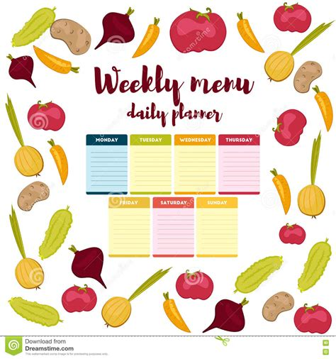 weekly menu daily planner stock vector image 75503617