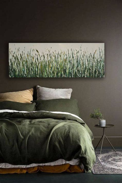 long narrow wall art large green painting farmhouse