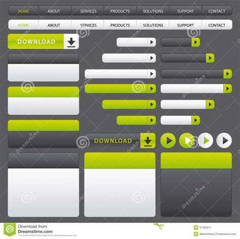 Green And Grey Website Buttons Template Stock Image Image 31782511 Navigation Bar Templates