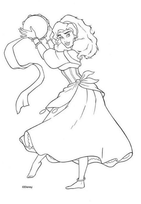 Disney Esmeralda Coloring Page | esmeralda plays the tambourine coloring pages hellokids com