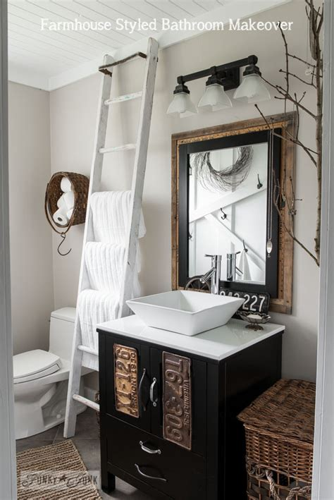 Farmhouse Bathroom Ideas Salvaged Farmhouse Bathroom Makeover With Vintage Trimfunky Junk Interiors
