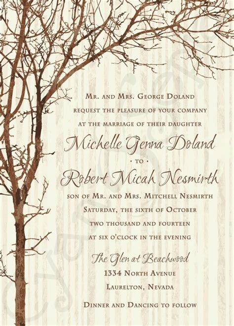 rustic tree card template printable wedding invitation 5x7 tree and branches