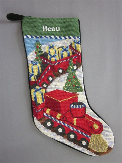 monogrammed christmas stockings lands end needlepoint christmas stocking beau monogrammed