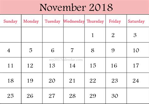 Calendar November 2017 To May 2018 November 2018 Calendar December 2018 Calendar