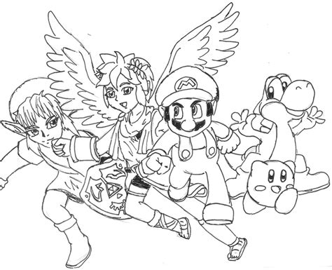 Bros Brawl Coloring Pages smash bros team mario by liosketch on deviantart