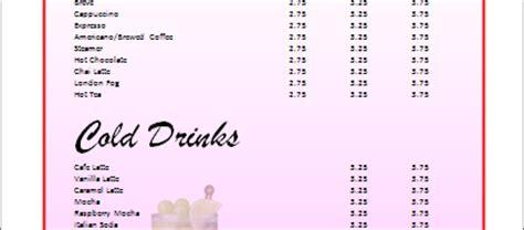 Drink Menu Template Microsoft Word by Sle Drinks Menu Microsoft Word Templates