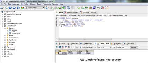 membuat database sql yog membuat aplikasi manipulasi data dengan java netbeans dan
