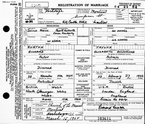 Montreal Marriage Records Marriage Record Contents