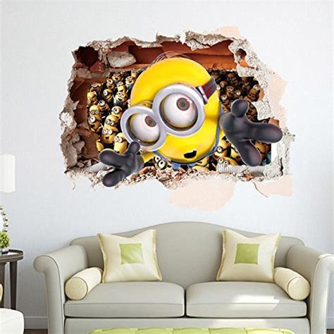 3d Sticker Minions by Apex Removable 3d Despicable Me 2 Minions Wall Sticker