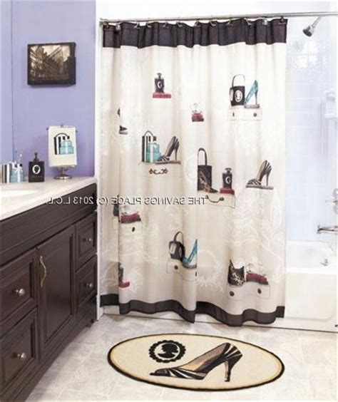 Bathroom Curtain And Rug Sets Home Dynamix Boutique Deluxe Shower Curtain And Bath Rug Set Bou Bathroom Sets With Shower