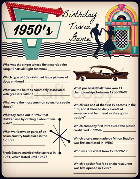 theme song quiz answers 1950 s birthday trivia game birthday party trivia