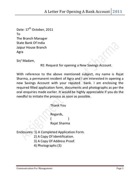 Letter for opening a bank account