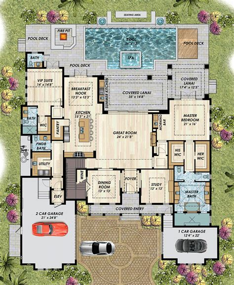 mediterranean house plans guest detached plan luxury beach