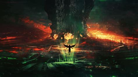 wallpaper fallen angel hell fire lava wings artwork