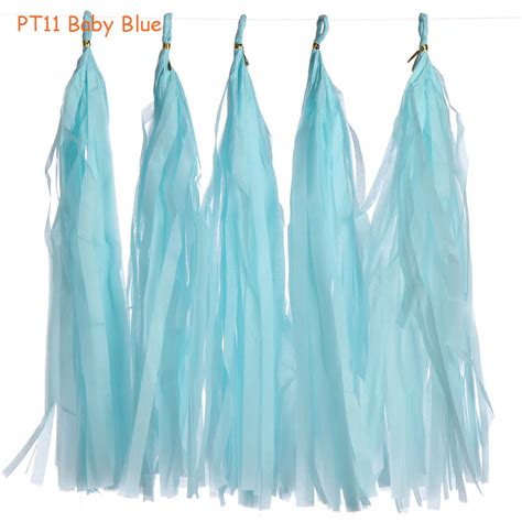 Paper Tassel Garland Blue No 7 5 Pcs Pack 5pcs pack 14inch baby blue blooming tissue paper tassel