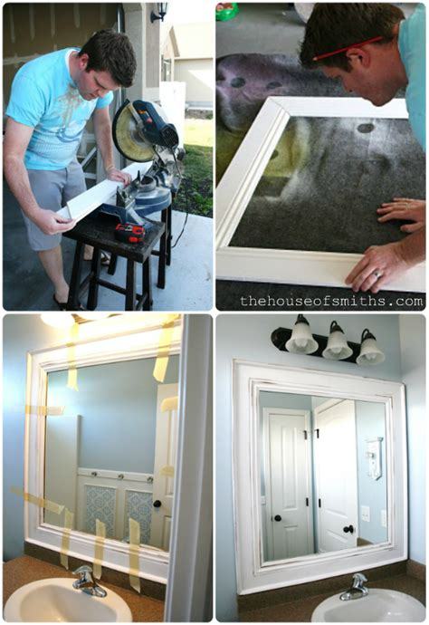 Framing An Existing Bathroom Mirror by House Of Smiths Home Tour Hallway And Bath Homes
