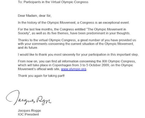 thank you letter to team captain wishswish thank you letter from the ioc president
