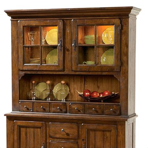 broyhill attic heirlooms dr hutch rustic oak china cabinet