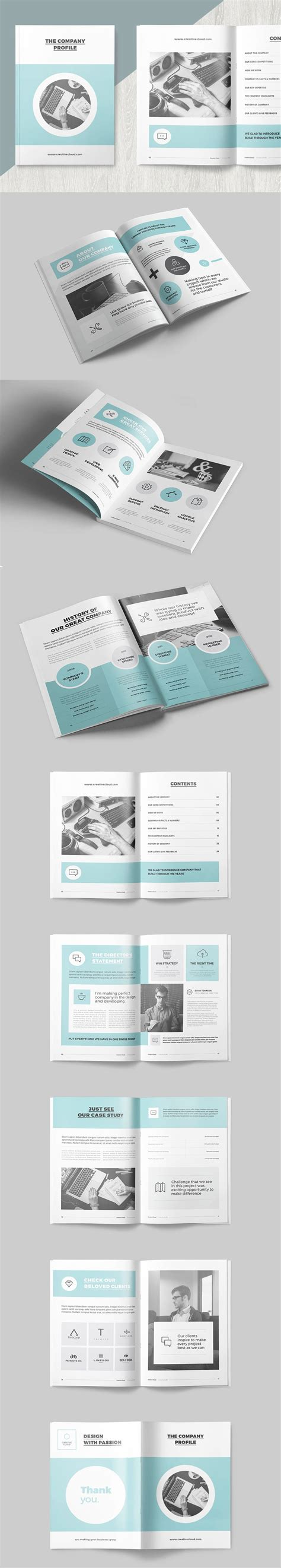Clean And Professional Company Profile Template Indesign Indd 16 Pages Brochure Proposal Indesign Booklet Template 5 5 X8 5