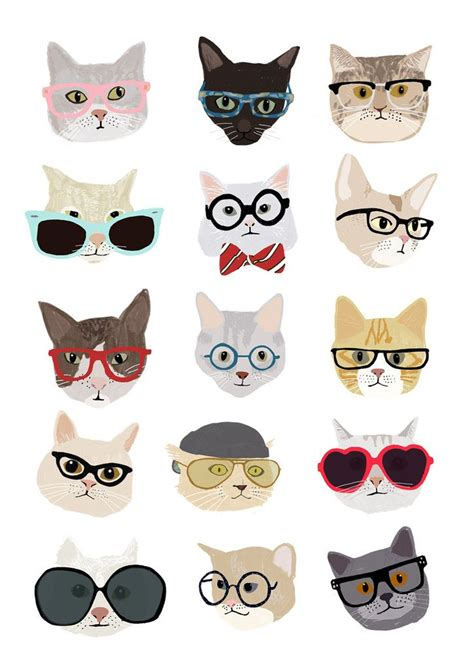 wallpaper cat illustration hanna melin cats with glasses print love cats