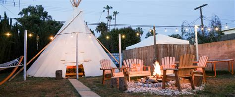 backyard tipi tipi with large backyard and fire pit in mar vista los