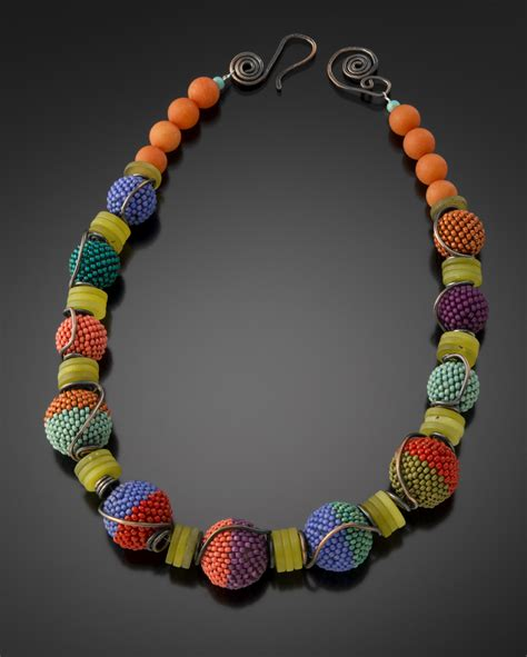 wire and bead tumbling beaded necklace julie powell design