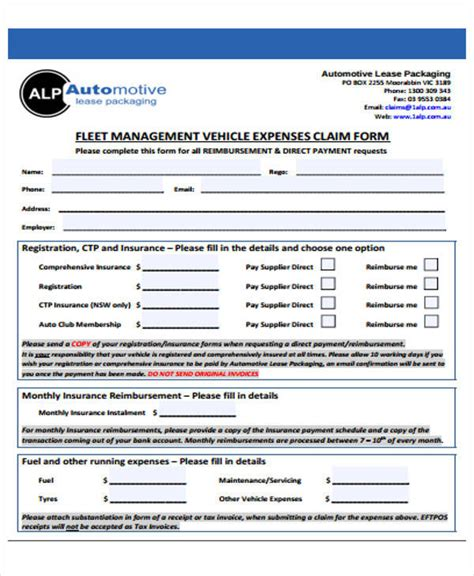 49 Claim Form Exles Sle Templates Fleet Management Contract Template
