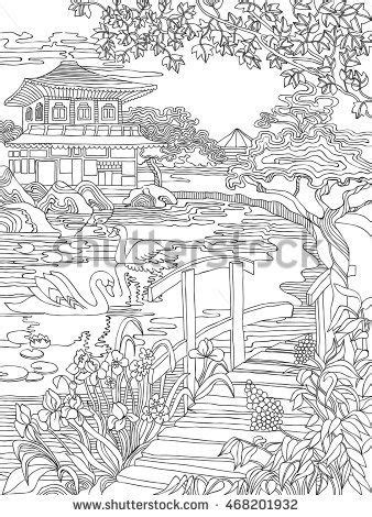 coloring pages japanese house   river bank