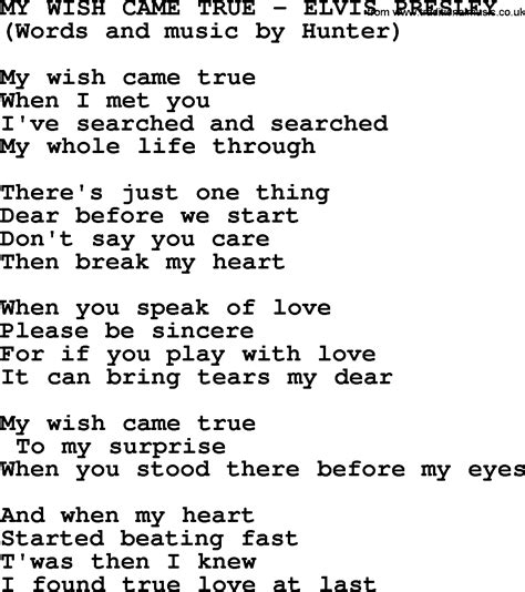 song my my wish came true by elvis lyrics