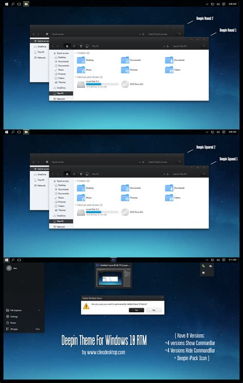 after dark cc theme for windows 10 rtm deepin theme for windows10 rtm by cleodesktop on deviantart