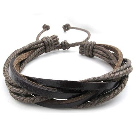 Handmade Mens Leather Bracelets - mendino handmade s leather bracelet woven hemp rope