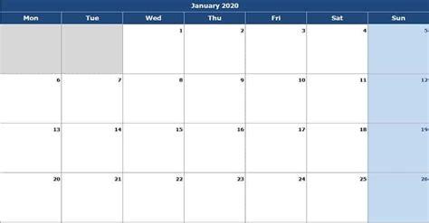 monthly calendar mon start excel template exceldatapro