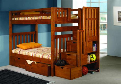 Wooden Bunk Bed With Stairs Bunk Beds With Steps Plans