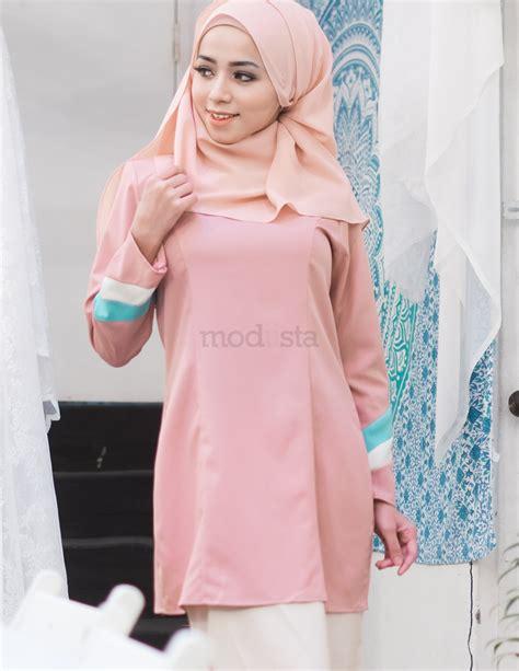 Baju Kurung Pink Lembut baju kurung moden pastel warna pink renee