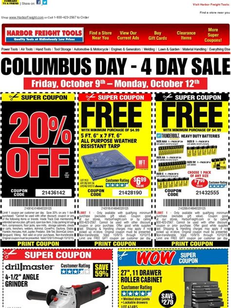 Buy Harbor Freight Gift Cards - harbor freight huge columbus day weekend sale starts friday milled