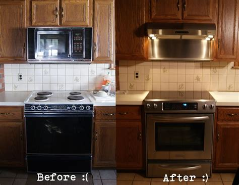 replacing kitchen backsplash solution for replacing the range microwave with a new and leaving existing