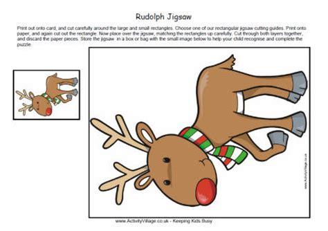 reindeer template activity village printable jigsaw christmas rudolph
