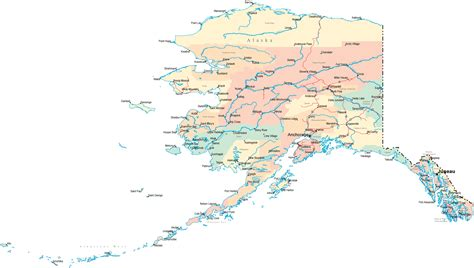 road map map of alaska with cities town road river united