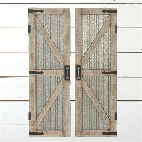 Corrugated Metal And Wood Barn Door Wall Panel Set Of 2 Barn Door Decor