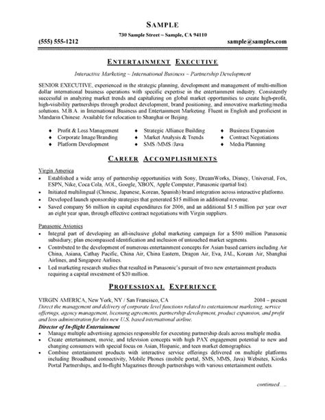 entertainment resume template cover letter entertainment industry exle