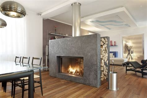 Sided Wood Burning Fireplace by Modern Home Design Extraordinary Luxurious Sided